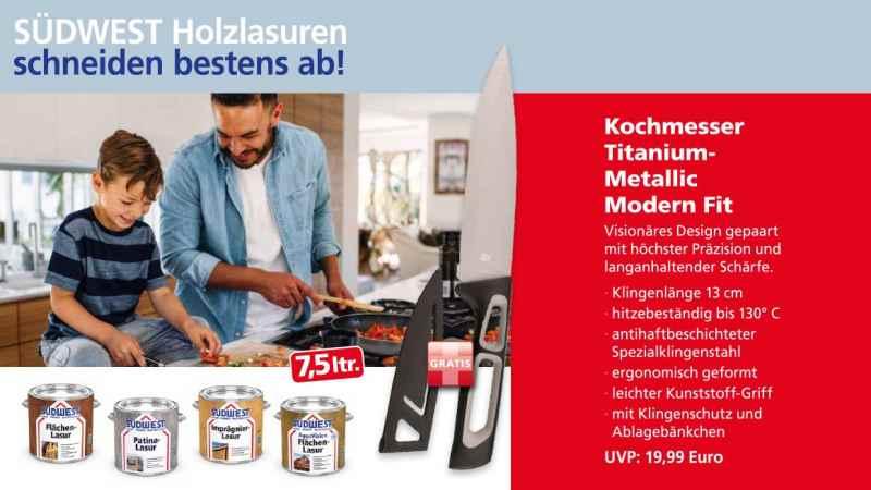 Binkele Farben, Lacke & Malerzubehör - SÜDWEST Holzlasuren: Titanmesser gratis
